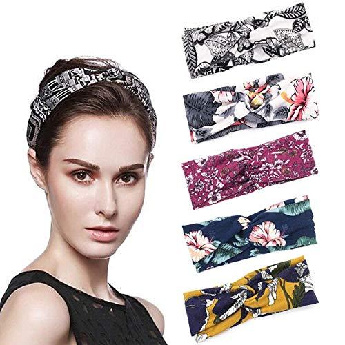Ealicere 5 Pièces bandeaux,Headbands Vintage Élastique,Cheveux Accessoire pour Femme,Bandeaux Tissu Idéal Pour le Sport ,Bandeau De Cheveux Mignon Accessoire