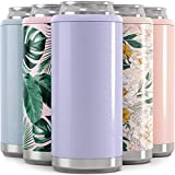 Maars Skinny Can Cooler for Slim Beer & Hard Seltzer | Stainless Steel 12oz Koozy Sleeve, Double Wall Vacuum Insulated Drink Holder - Glitter Lilac