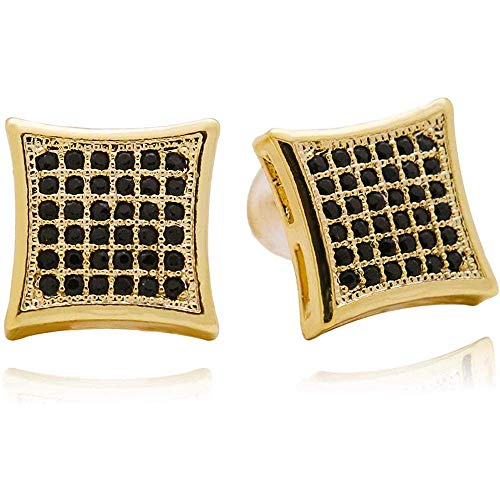 Hip Hop Gold Silver 11 mm Square CZ Stud Earring of Mens Boy Aretes Para Hombre