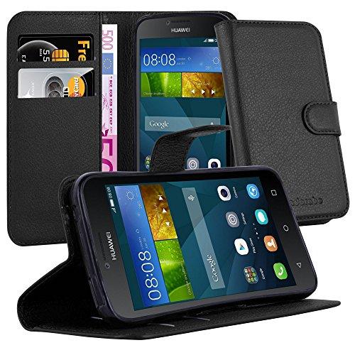 Cadorabo Hülle für Huawei Y5 2015 / Y5C / Y541 / Y540 / Y520 in Phantom SCHWARZ - Handyhülle mit Magnetverschluss, Standfunktion & Kartenfach - Hülle Cover Schutzhülle Etui Tasche Book Klapp Style
