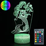 YOUNSH Mermaid Toys Night Light, 3D Illusion Lamp 16 Colors with Remote & Smart Touch Gifts for Girl Kids