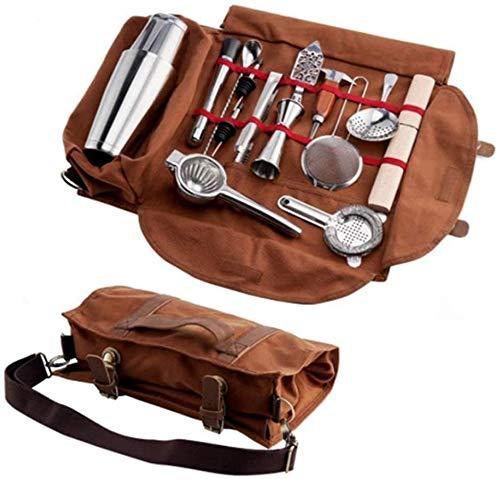 Lloow Barkeeper Kit-Taschen-Tasche, bewegliche Bar-Sets Rolltasche, Barkeeper Kit Rolltasche, Haus und Arbeitsplatz zu Machen zu Machen Gewachste Leinentasche für Reisen (Vide Werkzeugtasche Only)