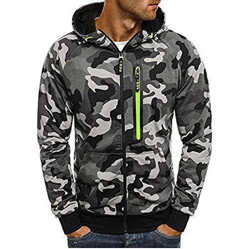UINGKID Herren Kapuzenpullover Sweatshirt Camouflage Zipper Pullover Langarm Tops Bluse