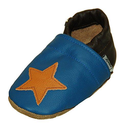 Lappade Stern blau - braun Lederpuschen Hausschuhe Krabbelschuhe Baby Jungen Mädchen Schläppchen Lauflernschuhe Wildledersohle Art. 413 Gr. 24/25 XL+