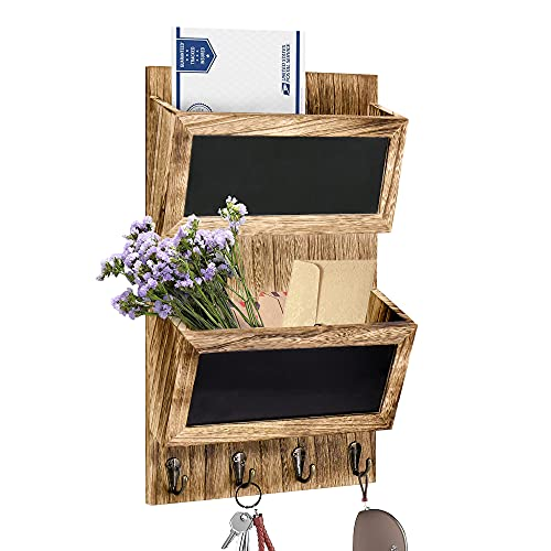 Mail Organizer Wall Mounted, Rustic Key Hangers and Mail Sorter, Wood Decorative Mail Shelf with 4 Hooks, Key Holder for Wall, 2-Slot Mail Sorter and Key Hangers for Wall
