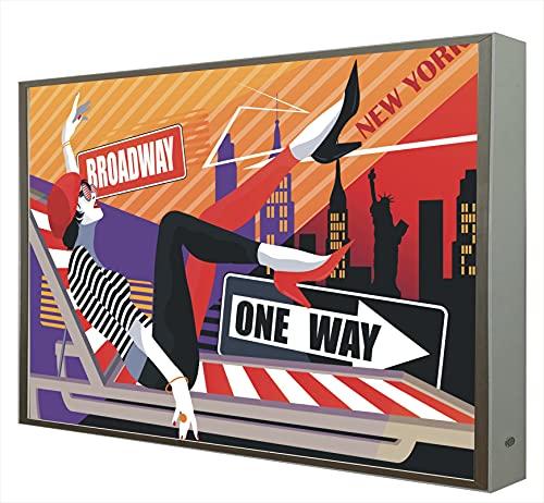 Quadro con cornice in legno laccato bianco retroilluminato serie Pop Art: New York