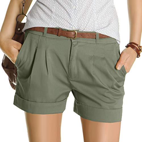 bestyledberlin Damen Shorts, Kurze Chino Hosen, Damenhosen, Bundfaltenhosen j161p 38/M Khaki