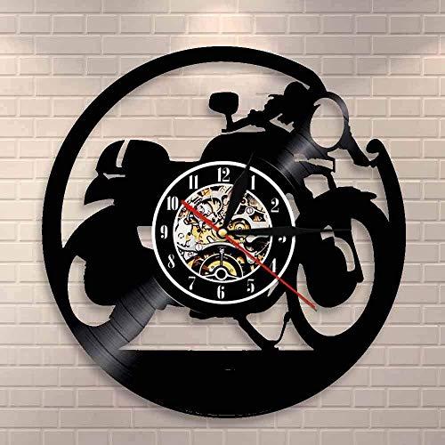 TJIAXU Reloj Cafe Racer, Reloj de Pared de Vinilo Hecho a Mano, Reloj de Pared de Vinilo clásico para Motocicleta, Reloj de Motocicleta, Regalo