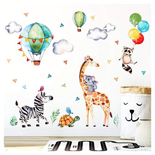 Little Deco Wandaufkleber Safariparty I Wandbild L - 134 x 90 cm (BxH) I Giraffe Zebra Wandtattoo Mädchen Kinderzimmer Aufkleber Junge Deko Sticker Babyzimmer DL313