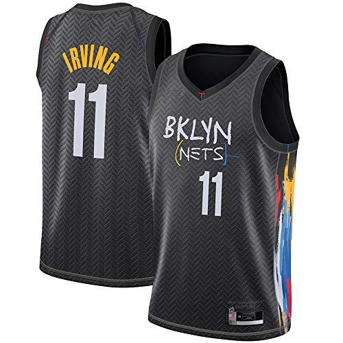 HS-XP Männer Basketball Jersey, NBA Brooklyn Nets 11# Kyrie Irving, Ärmelloser Basketballspieler Jersey, Turnhalle V-Ausschnitt Sport Freizeitweste,Schwarz,L(175~180cm)