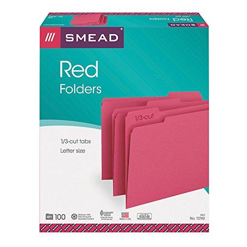 Smead File Folder, 1/3-Cut Tab, Letter Size, Red, 100 per Box (12743)