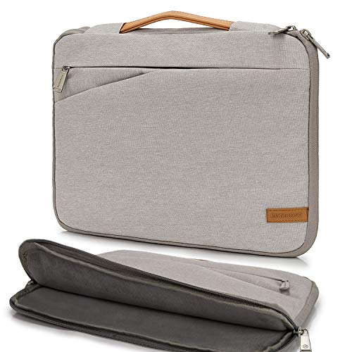 KINGSLONG Laptop Sleeve Case 17 Inch Ultra-Slim Padded Laptop Computer Pouch Bag Cover with Handle Pocket Tablet Briefcase Carrying Bag Compatible with Acer/Asus/Dell/Lenovo Waterproof (Grey)