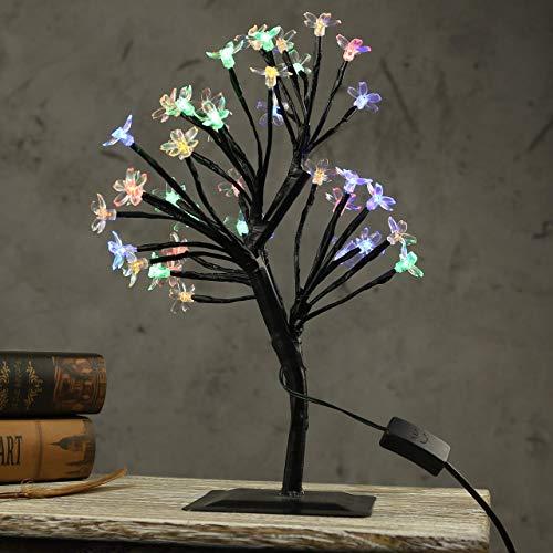 JAOSY Lámpara de Escritorio AC110-220V 40CM LED lámpara de Cerezo lámpara de Mesa luz de Noche para la decoración del Vestido de Boda de Hadas Colorido (Color:Multicolor)
