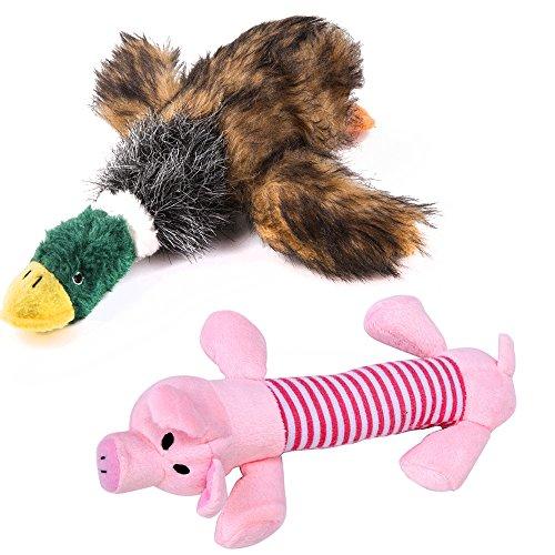 PET SPPTIES Jouet sonore en Peluche pour Les Chiens,Jouet pour Chien en Peluche Bruitages,Canard Qui couine pour Chien Jouets(Duck, Pink Pig)