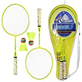 Lixada 1 Pair Badminton Rackets with Balls 2 Player Badminton Set Carbon Badminton