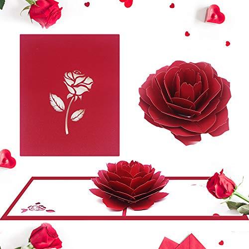 XGzhsa Tarjeta 3d amor, Tarjeta de San Valentín, Tarjeta de regalo hecha a mano de rosa roja para ella, regalos de boda de aniversario de cumpleaños de San Valentín para mujeres (2 piezas)