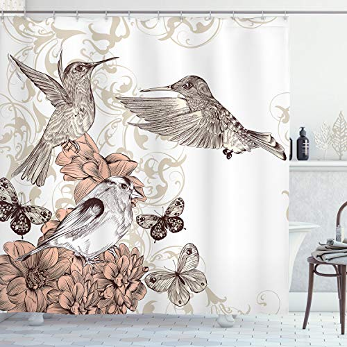 Ambesonne Hummingbird Shower Curtain, Vintage Style Artwork with Birds Butterflies on Blossoms Ornamental Background, Cloth Fabric Bathroom Decor Set with Hooks, 84' Long Extra, Brown Tan