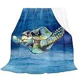 Oarencol Manta de tortuga marina azul agua suave acogedora franela polar manta doble para cama sofá sofá sofá 152 x 228 cm