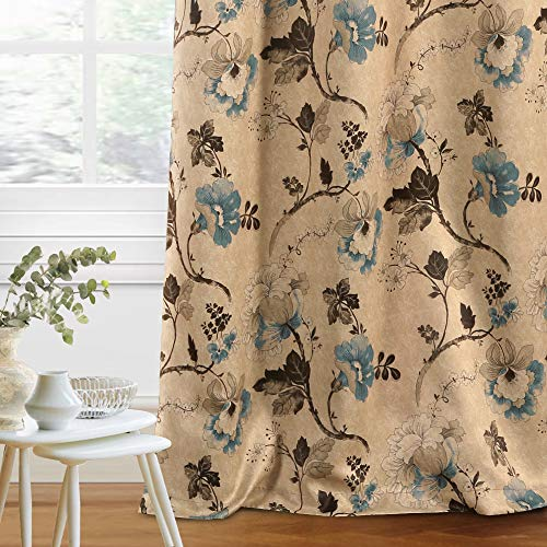 H.VERSAILTEX Blackout Curtain for Bedroom / Living Room Vintage Rustic Floral Curtain Draperies 63 Inches Long, Thick Soft Thermal Insulated Antique Grommet, 1 Panel, Brown / Stone Blue / Taupe