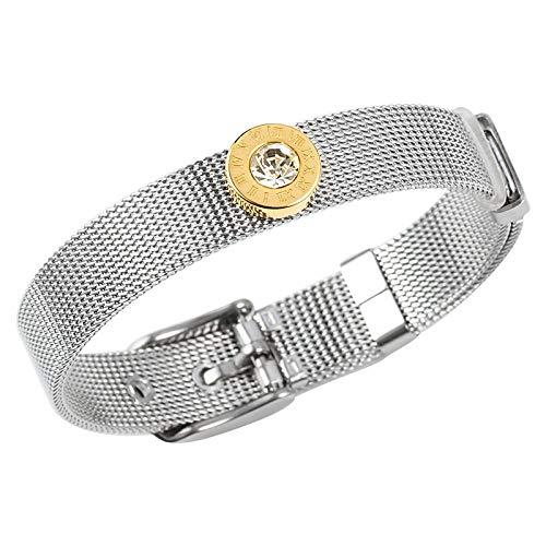 Acero Inoxidable Mujer Pulseras Brazalete Reloj Ajustable Cinturón CZ Letra Romana Grabado Fiesta de Compromiso Mujer Hombre Joyería RegaloColor Plata