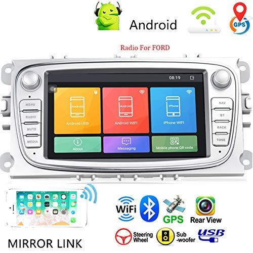 """Autoradio Android 9.0 da 7"""" nel cruscotto Lettore stereo per auto Unità principale Navigazione GPS WIFI Bluetooth Ricevitore FM Dual USB per Ford Focus Mondeo C-MAX S-MAX Galaxy II Kuga (Argento)"""
