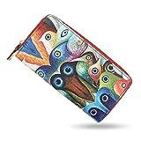 bluzelle Geldbeutel Geldbörse Portemonnaie aus Kunst-Leder mit Handyfach, Lange Premium Design Brieftasche, Umlaufender Reißverschluss Münzfach Kartenfächer Geldtasche, Designs:Colorful Birds