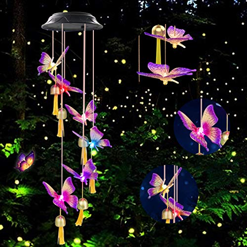 Greenke Solar Wind Chimes for Outside, Butterfly Gifts for Women, Color Changing Waterproof Windchimes for Outdoor Garden Patio Porch Decorative, Birthday Gardening Gifts for Mom Grandma Friends
