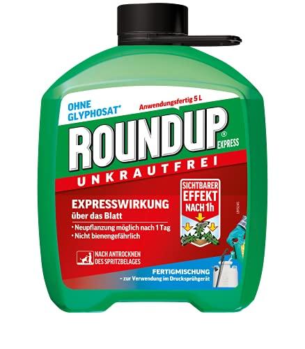Roundup Express Unkrautfrei, Fertigmischung zur Bekämpfung von Unkräutern und Gräsern, 5 Liter Kanister
