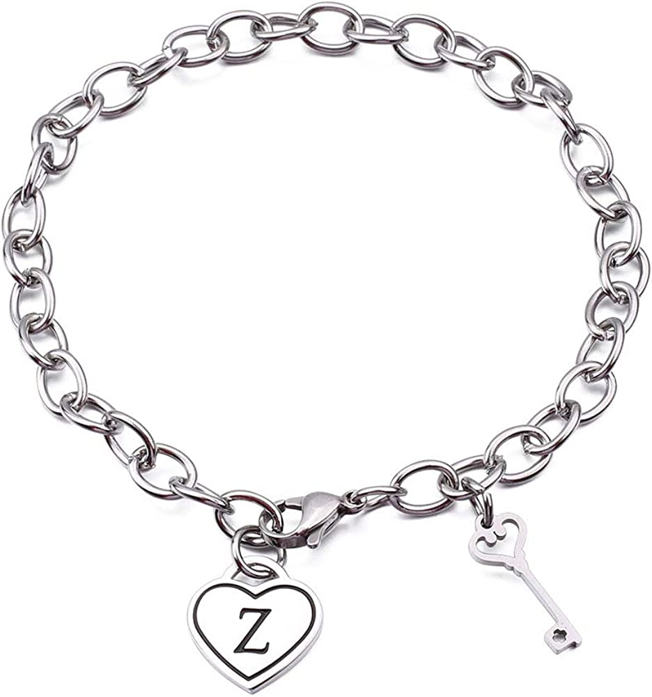 Heart Initial Chain Bracelet for Women Gifts 26 Letter Charms Bracelet Stainless Steel Link Bracelets Birthday Christmas Jewelry for Women Girl Teen