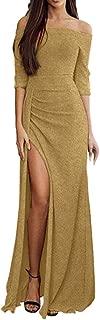 ✫Women Elegant Split Long Dress,Solid Off Shoulder Dinner Maxi Evening Dresses