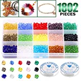 Keadic 1800Pcs 15 Colors 4mm Bicone Crystal Beads Assortment Kit with 2 Pack of Elastic Cord, for DIY Beading...