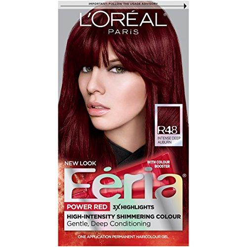 L'Oreal Paris Feria Multi-Faceted Shimmering Permanent Hair Color, R48 Red Velvet (Intense Deep Auburn), Pack of 1, Hair Dye
