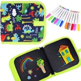 Kids Erasable Doodle Book Set, Reusable Drawing Pads, Gifts for Boys Girls, Preschool Travel Art Toy Scribbler Board for Travel, Road Trip, 14 Pages for Funny Drawing with 12 Watercolor Pens (Green)