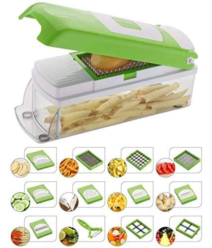 NOVEL Plastic Vegetable and Fruit Chipser With 11 Blades + 1 peeler inside, Green