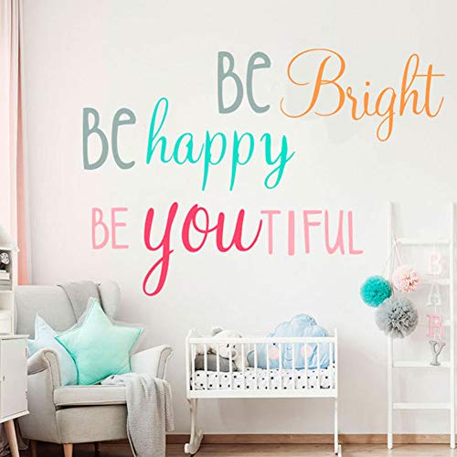 Inspirational Wall Decals Be Bright Be Happy Be You Tiful Wall Stickers, Positive Quotes Wall Posters Motivational Sayings Wall Art Murals Vinyl Wallpaper for Girls Room Nursery