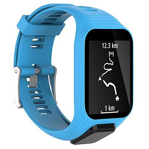 Kobwa für TomTom Runner 2/3/Spark 3/Adventurer/Golfer 2Sport GPS Watch Smart Watch Zubehör Armband Ersatz Silikon Band Gurt hellblau