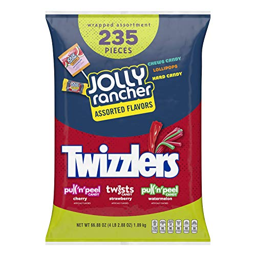 HERSHEY'S Bulk Halloween Candy Variety Mix, 235 Count (JOLLY RANCHER & TWIZZLERS), 66.88 oz