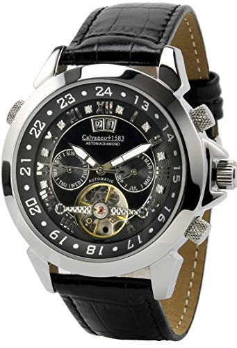 Calvaneo 1583 Herren-Armbanduhr Astonia Black DIAMOND Steel Analog Automatik Leder schwarz 10304