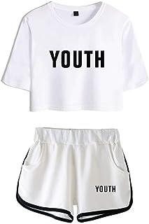 5cf3540093156 SilverBasic T-Shirts et Shorts Shawn Mendes Ensemble de Sportswear Vêtements  Commémoratifs Femme Ado Casual