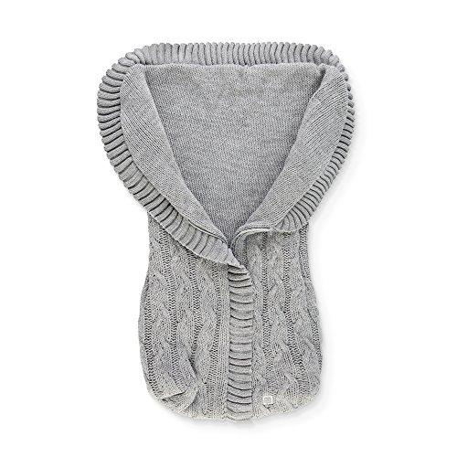 Minutus Saco Capazo punto con Trenzas 100% Dralón (lana bebé), color Gris