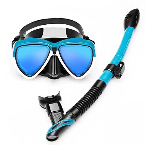 WZNING Taucherbrillen, Full Dry Schnorchel, Galvaniblaulicht HD Anti-Fog-Objektiv, Schnorchel Vollgesichtsmaske (Color : Blue)