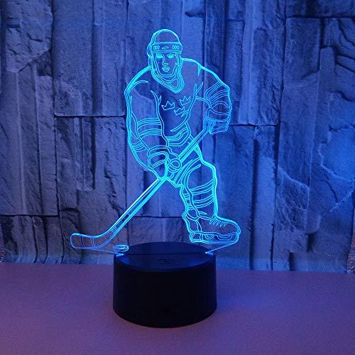 Luz nocturna 3D para niños con interruptor táctil LED, jugador de hockey, multicolor, USB acrílico, lámpara 3D, lámpara deportiva, lámpara de escritorio, decoración de Navidad, regalo para niños