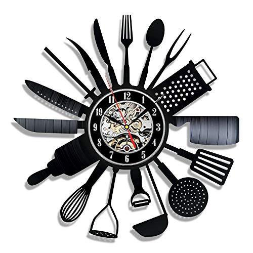 Fryymq (12 Pulgadas con LED) vajilla Disco de Vinilo Reloj de Pared diseño Cuchara Tenedor decoración Cocina Reloj de Vinilo Retro Reloj de Pared decoración del hogar