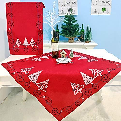 LJYNB Tafelkleed Tafelkleed 2 Stks Kerst Stof Kerstboom Borduren Tafelvlag Decoraties, Stijl:Vierkant (Rood)
