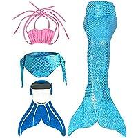 SPEEDEVE Traje de Baño de Cola de Sirena con Traje de Bikini para Niñas,Zafiro,130