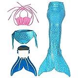 SPEEDEVE Traje de Baño de Cola de Sirena con Traje de Bikini para Niñas,Zafiro,110