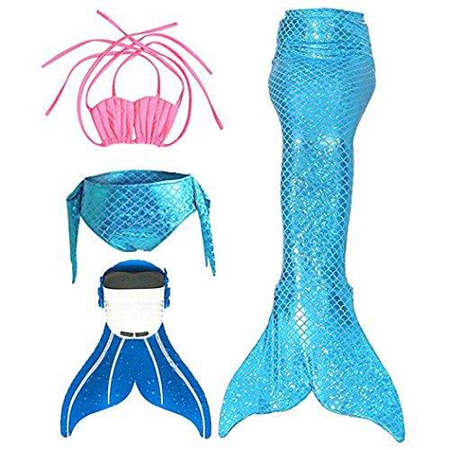 SPEEDEVE SPEEDEVE Mädchen Meerjungfrauenschwanz Zum Schwimmen mit Meerjungfrau Flosse, 6 (100-110cm), Blau