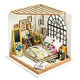 Robotime Dollhouse Kit Rénovation de meubles Woodcraft Kit de Construction Mini Maison de Bricolage à la Main Avec Lumières et Accessoires Miniature Home Decor Décor de Noël (Bedroom)