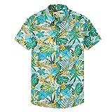 Damipow Hawaiian Shirts for Men Short Sleeve Aloha Beach Shirt Floral Summer Casual Button Down Shirts,White 5,L