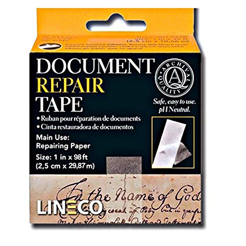 Lineco 1 Inch X 98 Feet. Archival Self Adhesive, Transparent Document Repair Tape with Neutral pH. Pressure Sensitive. Non-yellowing and Removable with Solvents, Conversational, Framing, Craft, DIY.